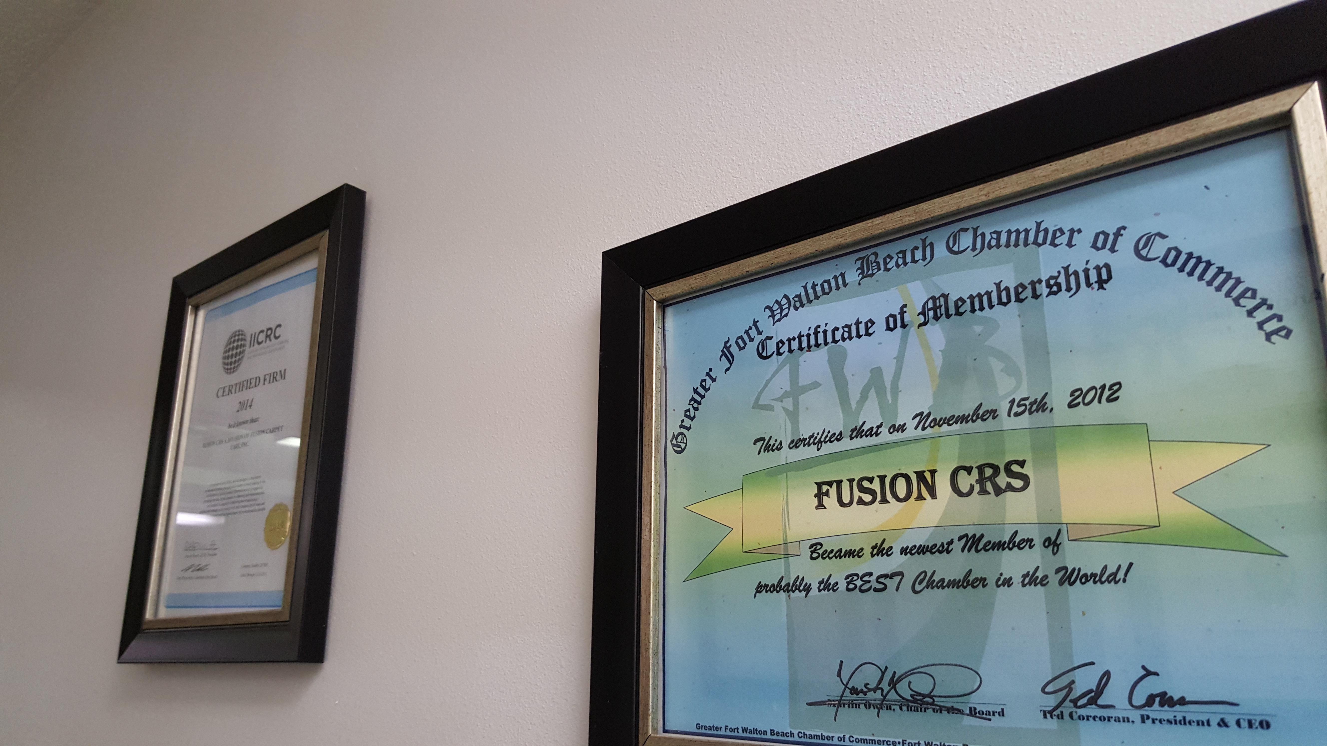 Chamber of Commerce Certificate. FWB